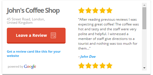 Google Review Card Example